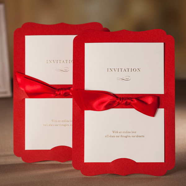 Unique Red Wedding Invitations Cards Sample With Ribbon Free