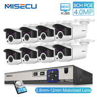MISECU H.265 8CH 4MP CCTV Camera System POE NVR Kit 2.8 12mm Zoom Outdoor Waterproof 4MP POE IP Camera P2P Security Surveillance