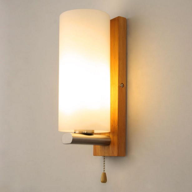 Nordic wood wall lamp living room hallway bedroom den creative led Chinese small bedside lamp wall lamp with switch