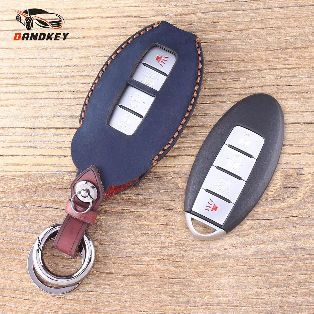 DANDKEY 4 Button Genuine Leather Protector Key Case Shell Cover For Nissan Sunny ALTIMA MAXIMA Murano Teana For Infiniti G35 G37 spl rkb z34 fks rear knuckle monoball bushing set nissan 370z z34 09 infiniti g37 08 g35 07 08 sedan v36