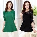 M,L,XL,XXL,3XL 2016 plus size women shirt new summer lace cotton woman blouses tunics casual lady tops kimono blusa black,green