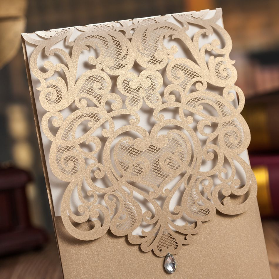 Luxury Korean Style Fantastic Gold Laser Cut Wedding Invitations Cards With Rhinestones 50pcs Free Shippingin From Home Garden On: Gold Laser Cut Wedding Invitations At Websimilar.org