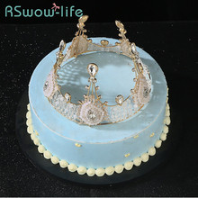 Birthday Cake Decoration Crown Luxury Handmade Crystal Beaded For Party
