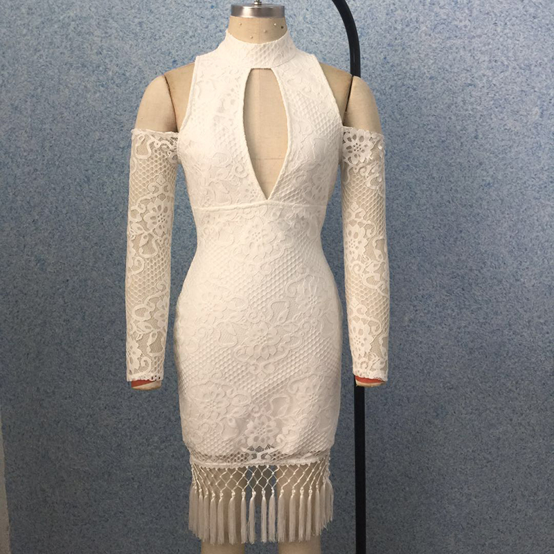 Gland D'épaule 2018 Designer Soirée Femmes Nouvelle Dentelle De Creux Piste Robe Mode Out ZqHBp