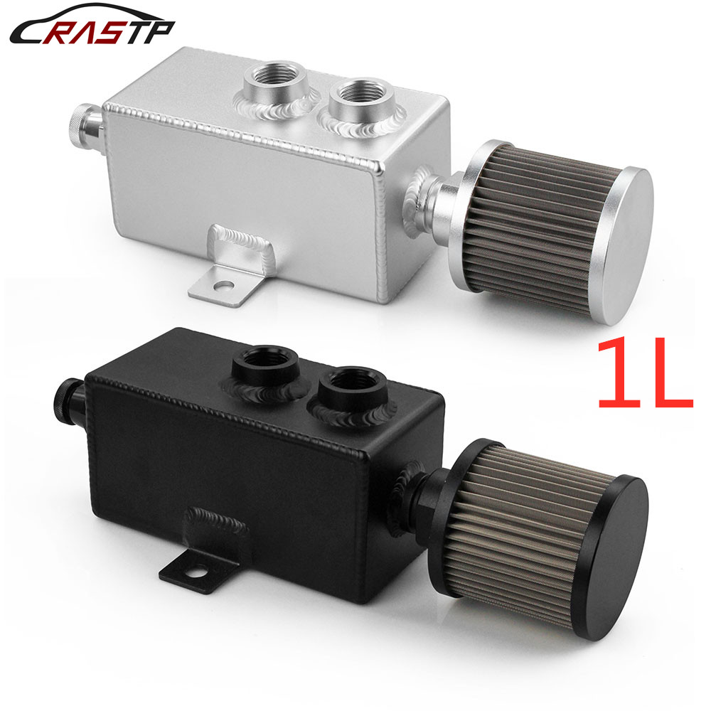 RASTP-1L Universal Car Aluminum Oil Catch Can Tank Silver Black Fuel Tanks with Breather Filter Drain Tap 1LT Baffled RS-OCC010
