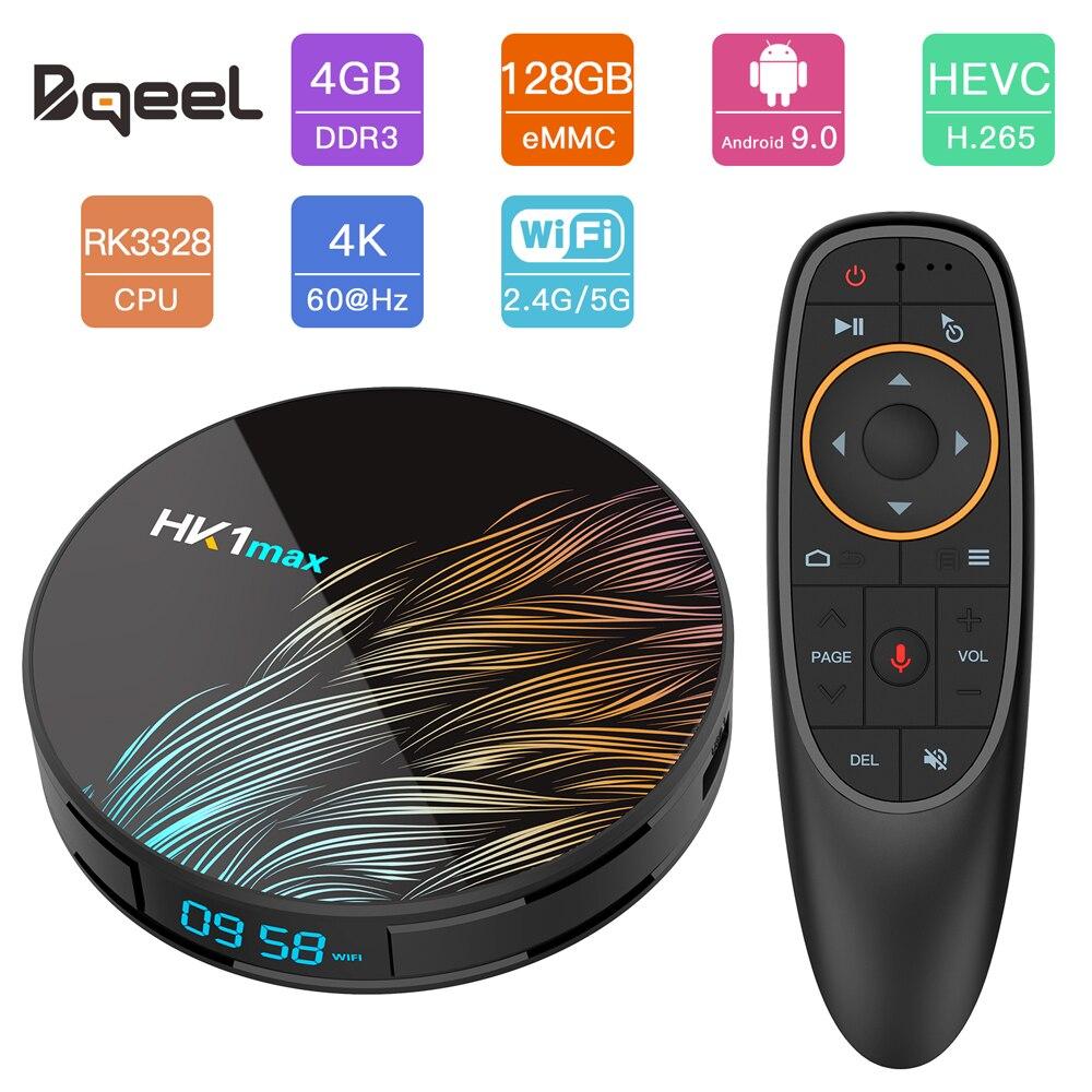 Bqeel RK3328 HK1MAX Caixa de TV Inteligente Quad Core 4G 128G BT 4.0 Android 9.0 CAIXA DE TV WI-FI 4K HDR Google Jogar YouTube Netflix Set Top Box