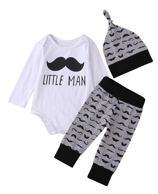 475bd3e0491a 3 pcs Newborn Babies Boy Moustache Little Man Bodysuit Top+Pants ...