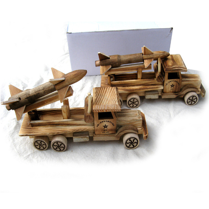 Diecasts & Toy Vehicles Motivated Free Shipping Handmade Wooden Toy Car Medium Range Rocket Chariot Model Wholesale Scud Missiles Easy To Use