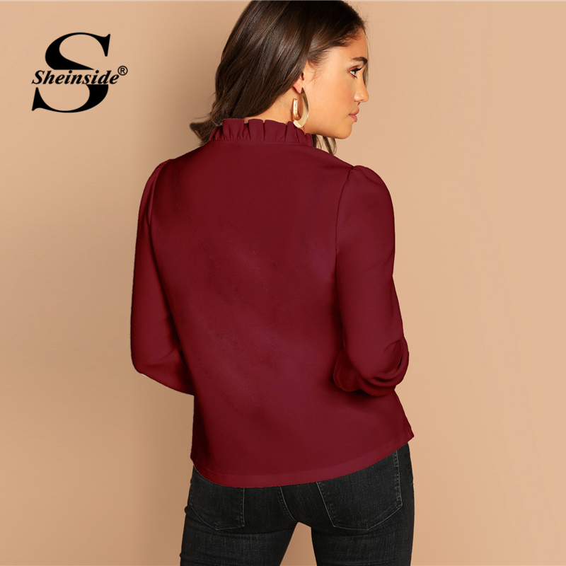 Sheinside Burgundy Frilled Neck Knot Blouse Long Sleeve Womens Tops 2019 Autumn Elegant Blouses Fashion Women Top Solid Shirts