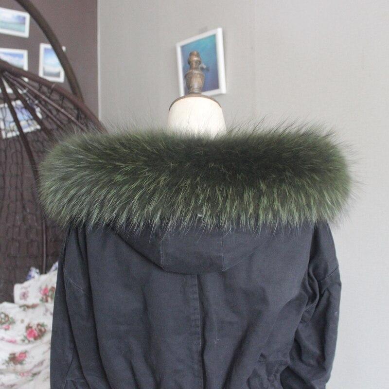 Зимняя куртка из натурального меха, воротник из натурального меха енота, женские шарфы, пальто, женская шапка, длинный теплый шарф из натурального меха, большой размер - Цвет: Green