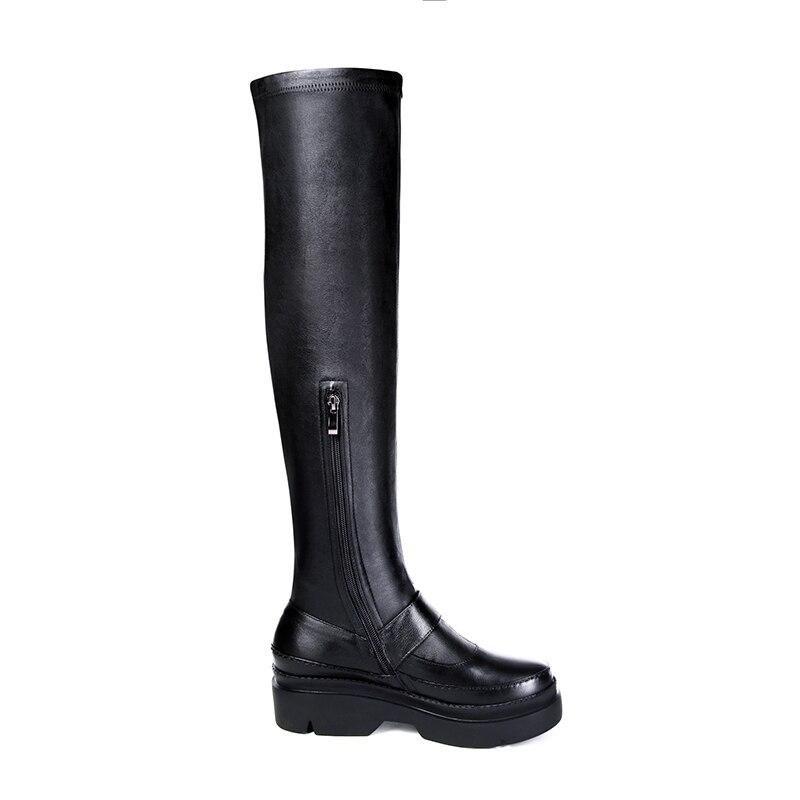 D'hiver 40 Tendance Med Grande Cr1194 34 Noir Véritable Bottes Boucle Enmayer Coins Chaussures Hautes En Femme Femmes Talons Taille Black Cuir w4nBTAzq