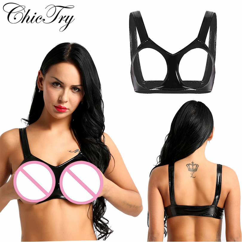 Newest Fashion Sexy Womens Lingerie Wetlook Faux Leather Sleeveless Open Cups Bra Underwear Vest Tank Crop Tops For Nightwear