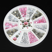 ZP-013 1 Box Pink Clear Grey Nail Rhinestones Mixed Size Studs Manicure 3D Art Decorations in Wheel