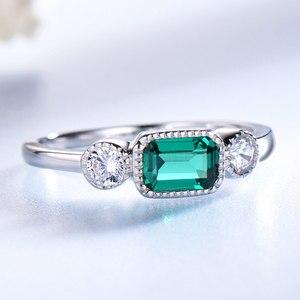 Image 2 - UMCHO anillos de plata de ley 925 auténtica de Nano Esmeralda rusa para mujer, anillo Vintage de piedra natal de mayo para mujer, joyería de marca fina