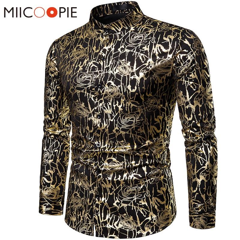 Men's Casual Shirts 2019 Night Club Wear Rose Printed Bronzing Long Sleeve Henry Collar Chemise Homme Men Fashions Streetwear