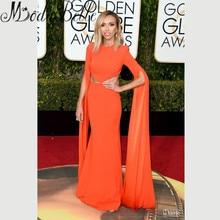73rd Golden Globe Awards Kleider Giuliana Depandi Berühmtheits-roter Teppich Kleid Orange Sexy Mantel Langarm Abendkleider