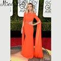 Vestidos Giuliana Rancic 73rd prémio globo de ouro celebridade vestido laranja vermelho Sexy vestidos de manga longa