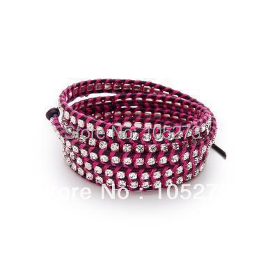 New Arriver Chirstmas Jewellery ! Lovely 4MM Grey Crystal Wrap Bracelet On Natural Leather 32-34inch Wholesale New Free Shipping