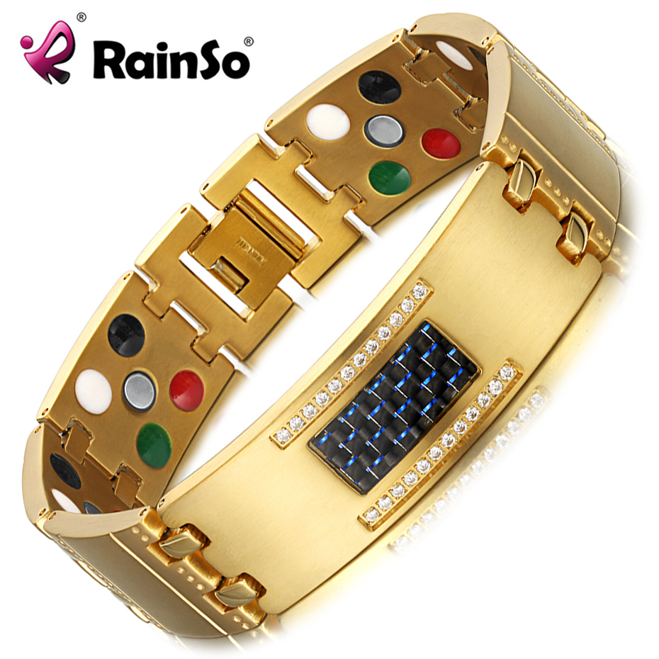 RainSo Exquisite Crystal Titanium Bracelets Bangles Magnetic Germanium Negative ions Far Infrared Tourmaline Men's Jewelry