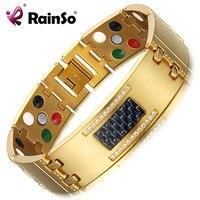 RainSo Exquisite Crystal Titanium Bracelets Bangles Magnetic Germanium Negative Ions Far Infrared Tourmaline Men S Jewelry