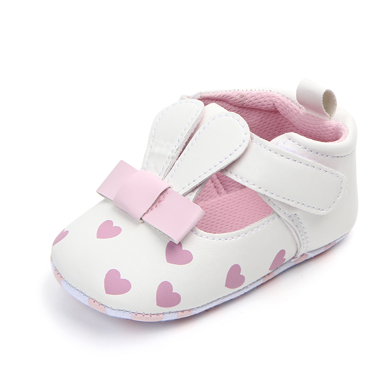 Cute Rabbit Princess Shoes Heart-Shaped Cotton Fabric Bottom Soft Sole Leather Baby Girl Shoes Toddlers First Walkers Wholesale