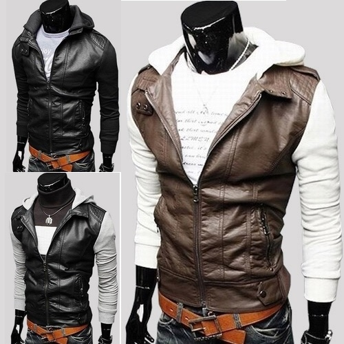 2016 New Knitted sleeve designer hooded cool leather ...