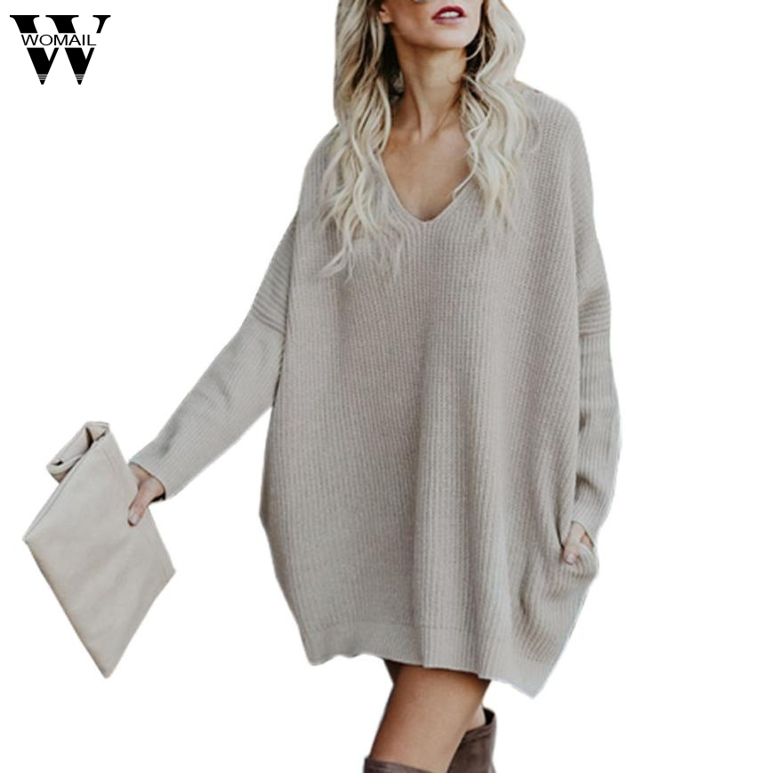 Dress 2017 sweater dresses for winter Womens Autumn Winter Knitted Shirt Pullover Long V-Neck Plus Size Sweater Dress    NOV29 v neck layered long sleeve pullover sweater