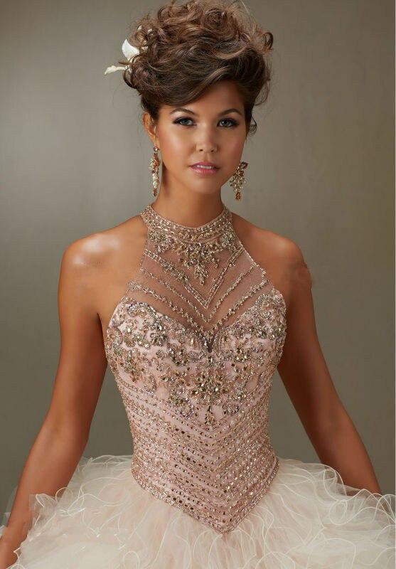 2016 New Backless Lace Up adultes robe de bal col haut Organza Quinceanera robe de l'épaule sans manches perles parti robes