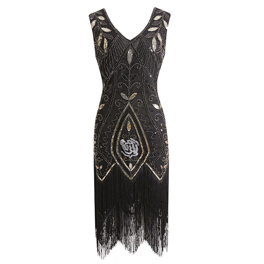 US $21.11 44% OFF|JAYCOSIIN Plus Size Gatsby Flapper Dress Vintage Women  1920s costume V Neck Sleeveless Fringed Sequin Dress for Party Prom  Z0415-in ...