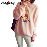 New Harajuku Fleece Long Sleeve Sudaderas Mujer 2015 Pikachu Hoodie Cosplay Mario Women Sweatshirt Loose Moletom