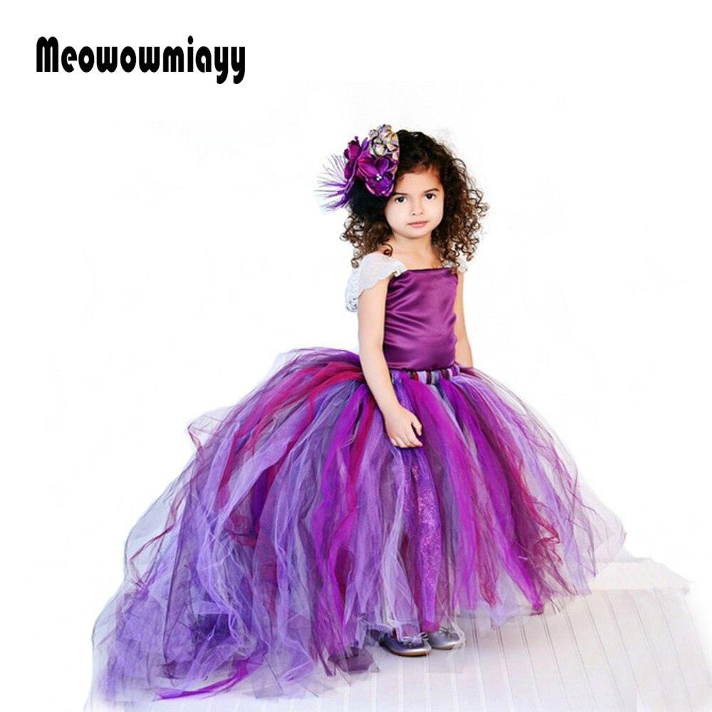 цены Girls dresses for party and wedding summer 2018 kids clothes Strapless tail lace tutu prom dresses vestido infantil festa