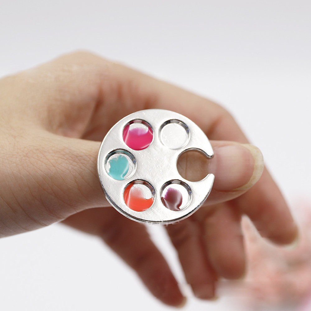 1 Pc Mini Finger Nail Art Mixing Palette For Free Hand Manicure Mao Tenda Bola Hexagon Ring Tools Metal