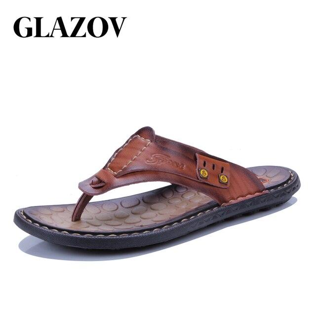 78f06cbb389e GLAZOV Summer Luxury Brand 2018 New Men s Flip Flops High Quality Leather  Slippers Summer Fashion Beach Sandals Shoes For Men