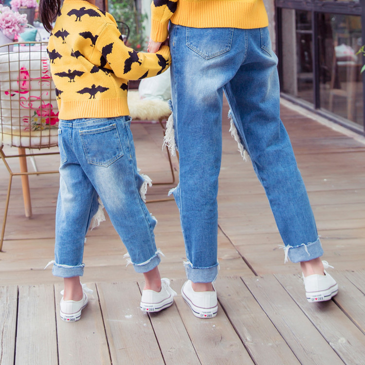 fd70805683c family matching pangs trouseer boys ripped jeans mom son holes jeans mother  and daughter clothes fahsion family clothing-in Matching Family Outfits  from ...