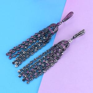 Image 5 - GODKI luksusowe długie frędzle oświadczenie zwisają kolczyki Trendy Hot różowy sześciennych cyrkon kryształ CZ spadek kolczyki dla kobiet ślub 2018