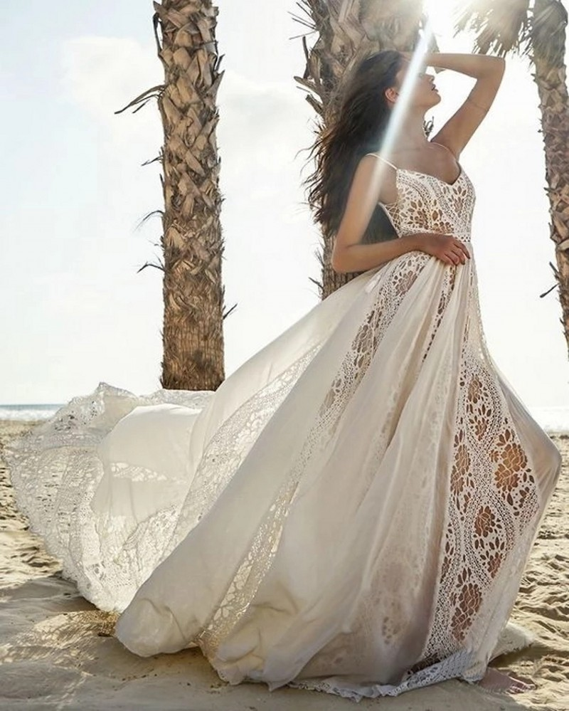Sexy Bohemia Beach Wedding Dress 18 Lace Backless Vestido De ...