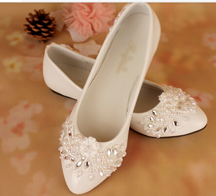 Handmade flat heel white wedding shoes female lace rhinestones ...
