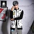 Genanx marca de moda gola solta no longo casaco de impressão homem tamanho m-xxl