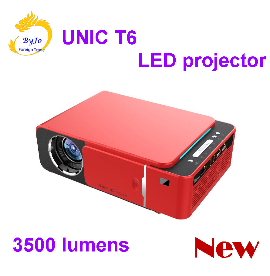 2019 New Original T6 1280×720 LED Projector 3500 lumens Short throw projector Keystone correction USB HDMI VGA AV H