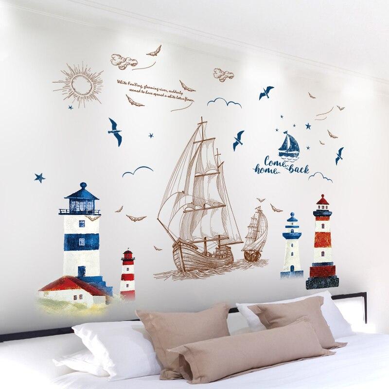 Farol Barco À Vela mediterrâneo Adesivos de Parede Material de PVC Mural Art para Sala de estar Sofá Pano de Fundo Decoração Home Decor