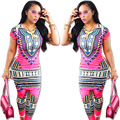 2017 new arrival Sexy Totem Print African Style Casual Suit Set novel designned fashion style women shine color clubwear SC1615