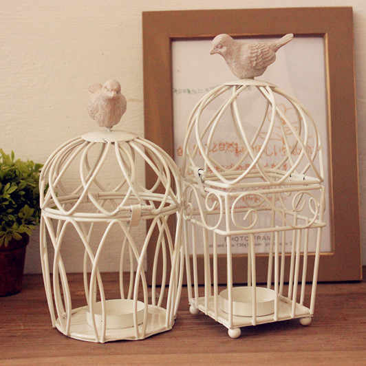 European Style White Iron Birdcage Candle Holder Resin Bird Vintage Candle Holder  Candlestick Iron Crafts Home Decoration