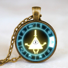 Drama Gravity Falls Mysteries BILL CIPHER WHEEL Steampunk Pendant Necklace doctor who 1pcs/lot mens vintage 2017 antique womens