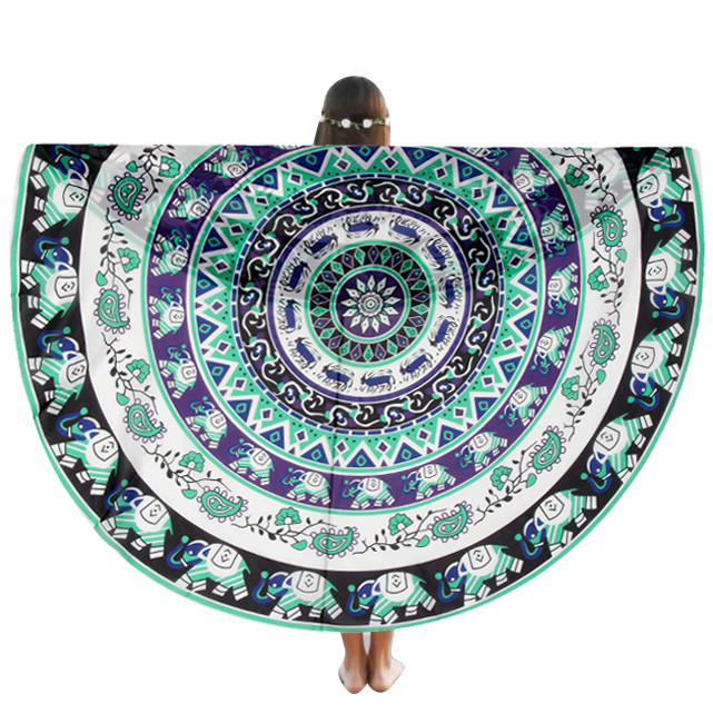 Chiffon Round Beach Pool Home Shower Towel Blanket Table Cloth Yoga Mat Round Beach Pool Polyester New