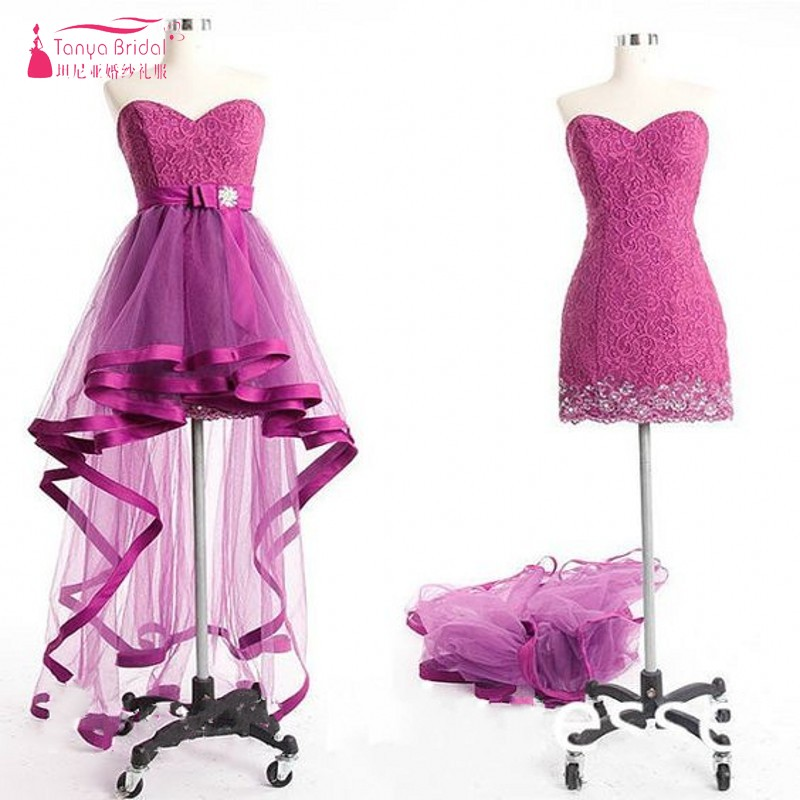 Hot Pink Fuchsia Sexy   Prom     Dress   with Removeable Train Lace Cheap   Dress   Discount Fast Shipping Custom Made TB1753