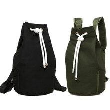 New canvas drawstring backpack large capacity bucket basket bag sports fitness bag cycling backpack canvas drawstring colour block backpack
