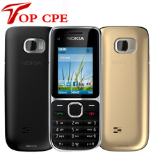 """Разблокированный Nokia C2 C2-01 3.2MP 2,"""" английский/русский/Иврит Клавиатура одноядерный черный/золотой 2G 3g мобильный телефон"""