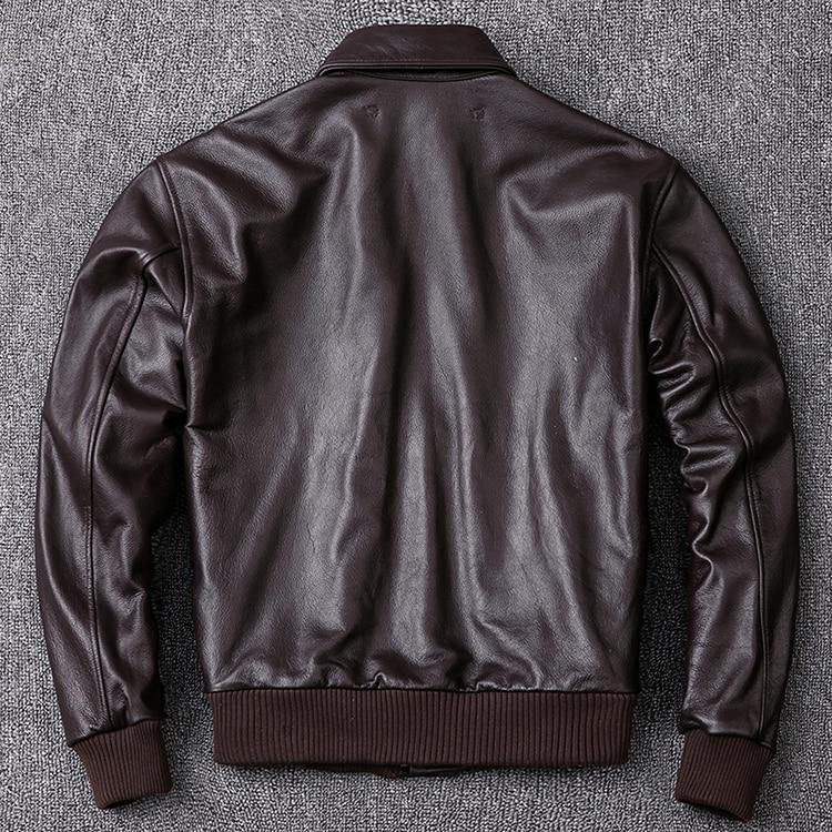 HTB1LBPSXoLrK1Rjy1zbq6AenFXaU MAPLESTEED Men Leather Jacket Military Pilot Jackets Air Force Flight A2 Jacket Black Brown 100% Calf Skin Coat Autumn 4XL M154