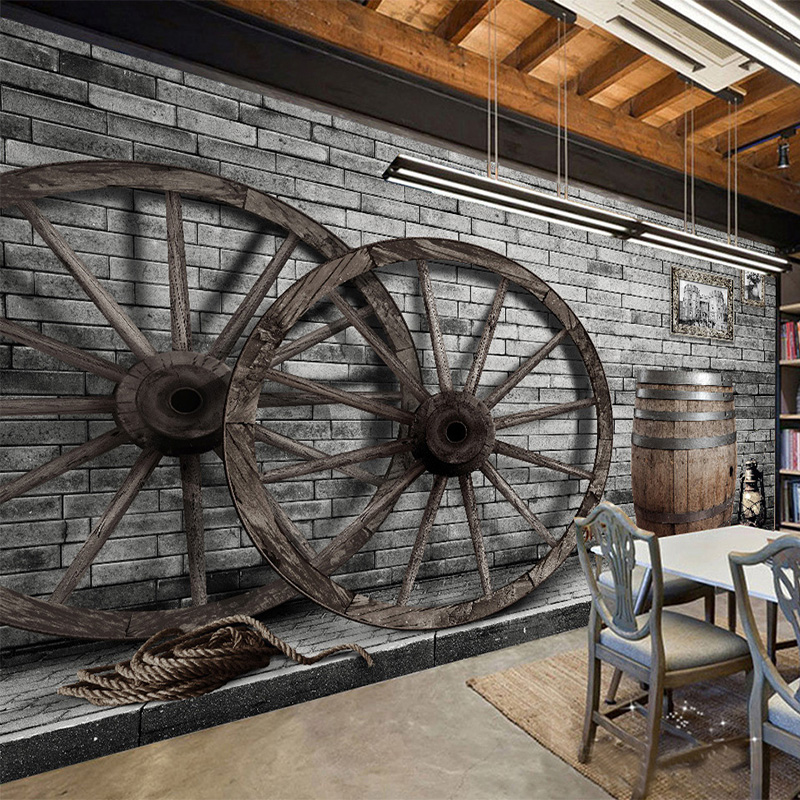 European Style Retro Wood Wheel 3D Mural Wallpaper Cafe Bar Restaurant Personality Decor Wall Paper Papel De Parede 3D Paisagem custom 3d stereoscopic mural monroe marilyn head papel de pared european style wall paper roll restaurant place of entertainment