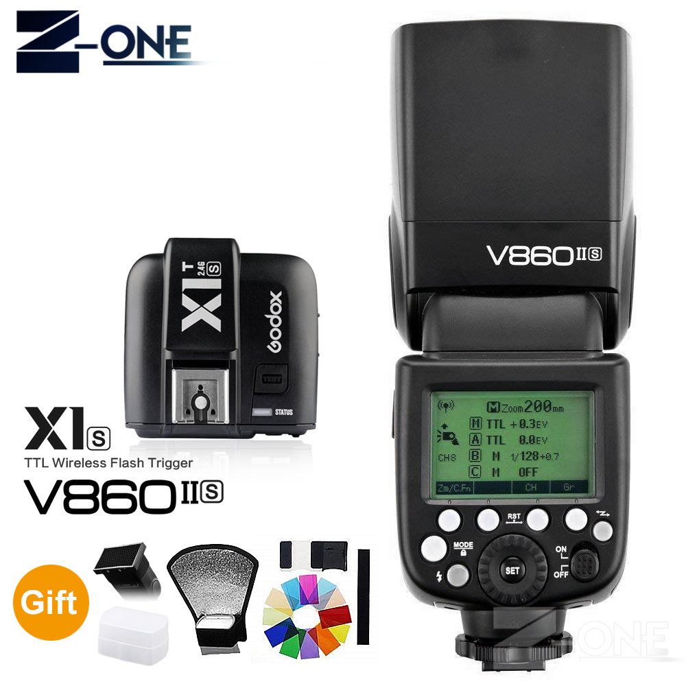 Godox V860II-S E-TTL HSS 1/8000 Li-ion Battery Speedlite Flash+ X1T-S Transmitter for Sony DSLR A7R A7RII A58 A99 A6000 Camera godox v860iis flash speedlite 2 v860ii s ttl hss 2 4g li ion battery x1t s trigger for sony dslr cameras supon free gift kit